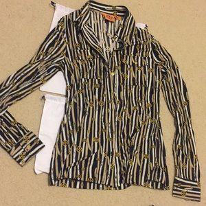 Tory Burch Logo Silk blouse shirt size small s